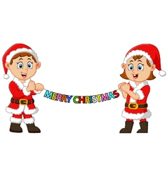 happy kid holding christmas banner vector image