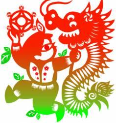 lion dance vector image