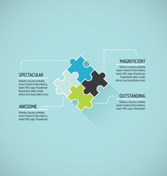 Puzzle piece flat infographics business concept ve vector