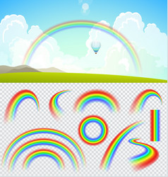 Set of transparent realistic rainbows vector image vector image