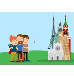 Traveling family make selfie near landmarks vector image vector image