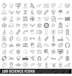 100 science icons set outline style vector