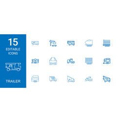 15 trailer icons vector