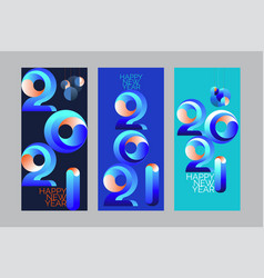 2021 new year banner 3d bright color minimal vector image