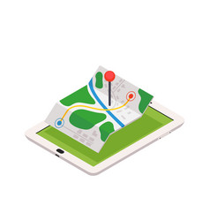 3d isometric mobile gps navigation concept vector image