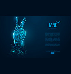 abstract silhouette a hand two fingers victory vector image