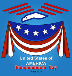 America independence day greeting card with flag vector