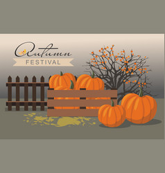 Autumn festival pumpkins next to berry bush vector