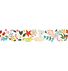 autumn horizontal banner with fall colorful leaves vector image