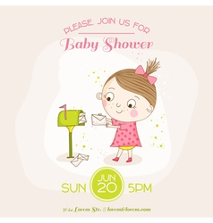 Bagirl with mail - bashower or arrival card vector