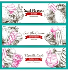Banner of dessert food sketch with ice cream vector image vector image
