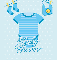 Blue bodysuit and socks bib baby shower card vector