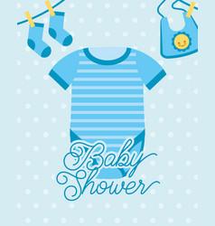 blue bodysuit and socks bib baby shower card vector image