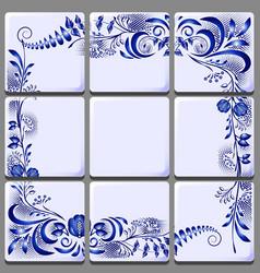 Blue floral drawing on ceramic tile on national vector