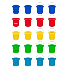 Blue plastic empty bucket with vector