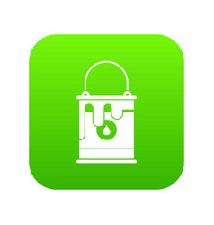 Bucket with paint icon digital green vector