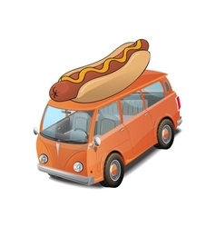 Car hotdog fast food on white vector