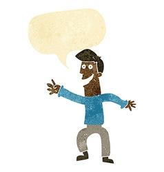 Cartoon happy man dancing with speech bubble vector