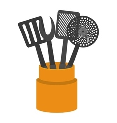 cartoon set utensil kitchen container vector image