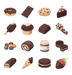 Chocolate desserts set icons in cartoon style Big vector