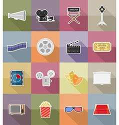 cinema flat icons 18 vector image