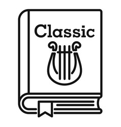 classic literary book icon outline style vector image