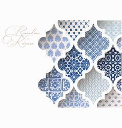 Close-up blue ornamental arabic tiles patterns vector