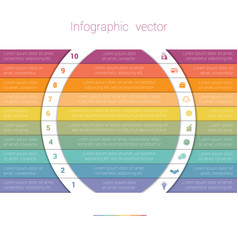 Colorful strips and white semicircles for text 10 vector