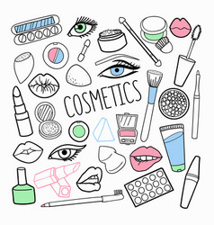 Cosmetics make-up hand drawn elements set vector