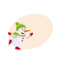 Cute and funny little snowman ice skating happily vector