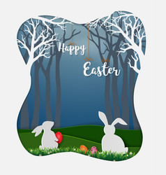 easter eggs with white rabbits and little daisy vector image