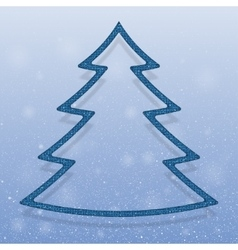 Falling snow Blue Sequins Christmas tree vector