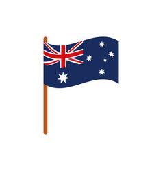 flag in pole emblem australia icon on white vector image