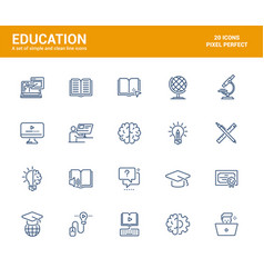 flat line icons design-education vector image