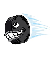 Flying smiling hockey puck vector image