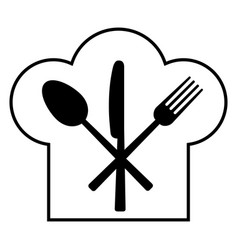 Fork knife spoon and headdress of the cook vector
