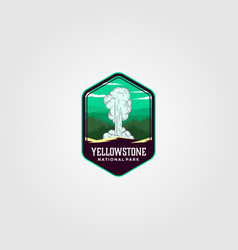geyser eruption on yellowstone national park logo vector image