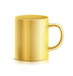 gold cup mug 3d realistic golden cup vector image