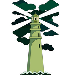 Green lighthouse on a cliff vector