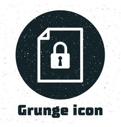 Grunge document and lock icon isolated on white vector