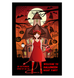 Halloween invitation card design with a girl vector