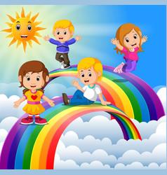 Happy kids standing over the rainbow vector