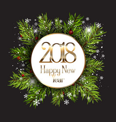 happy new year background with snowflakes and fir vector image