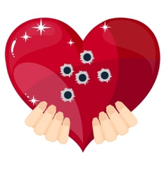 Heart with bullet holes vector
