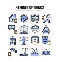 internet things icon in filled outline design vector image