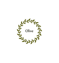 Isolated round green olive branch logo vector