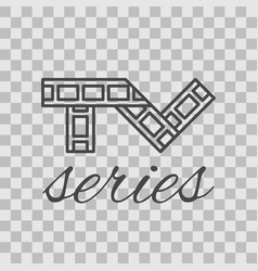 isolated tv series thin lined outlined icon vector image