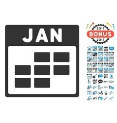 January Calendar Grid Flat Icon With Bonus vector