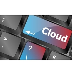 Keyboard key with cloud computing button vector