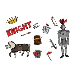 Knight icons set vector image